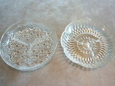 Pair Of Vintage Glass Segmented Nibbles Dishes. VGC