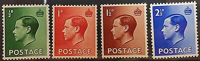 GB 1936 SG457-460 ½d-2½d EVIII Definitives Set of 4, Mounted Mint