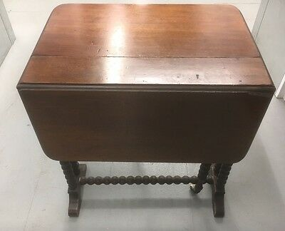 Edwardian Mahogany Sutherland Drop Leaf Occasional Table w/ Casters