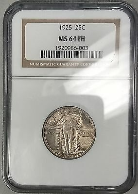 1925 25c NGC MS64 FH Full Head MS64FH Standing Liberty Quarter Toned
