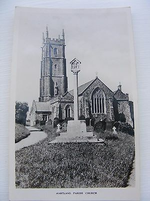 B&w Postcard Of Hartland Parish Church, Devon