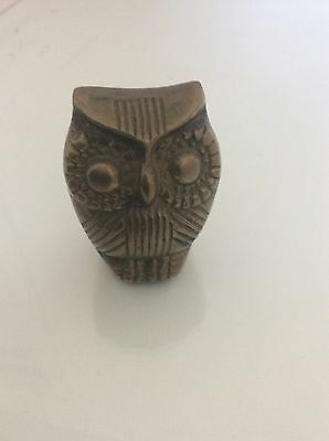 Vintage Collectable Small Brass Owl
