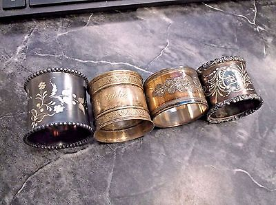 4 Different Antique Victorian Silverplate Napkin Rings NICE!!!