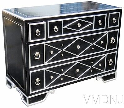 VMD 1421 Maitland Smith Black Leather & Chrome Chest of Drawers
