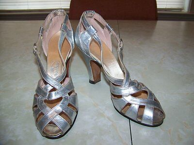 """Vintage NISLEY Shoes-Silver & Strappy-3.5"""" Heels-Womens Sz 3 Med-1930-40s"""
