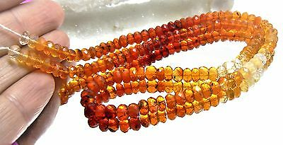 """NATURAL RED ORANGE CREAM FACETED MEXICAN FIRE OPAL BEADS 5mm 61ctw 14.75"""" STRAND"""