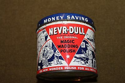 "Original WW2 U.S. Home Front Wartime ""Nevr-Dull'' Can, Complete & Unused 1941 d."