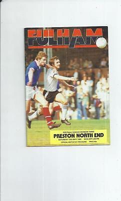 Fulham v Preston Football Programme 1981/82