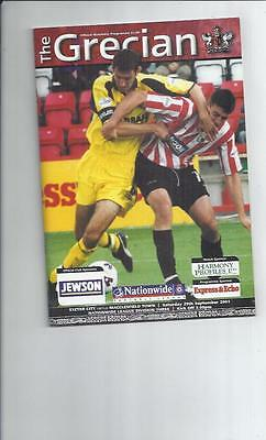 Exeter City v Macclesfield Town Football Programme 2001/02