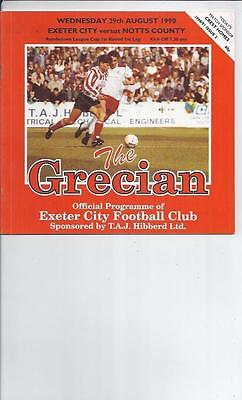 Exeter City v Notts County Rumbelows Cup Football Programme 1990/91