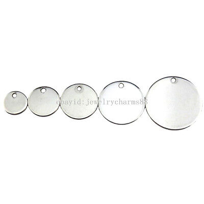 8/10/12/15/18mm 10pcs Silver Blank Smooth Round Stainless Steel Pendant Lot