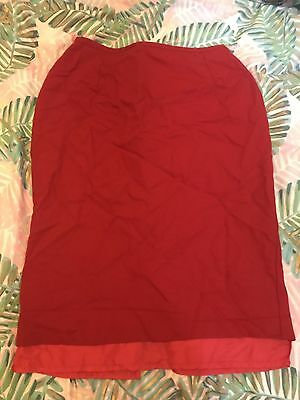 Red Vintage St Michael Pencil Skirt Size 12 Exc Condition