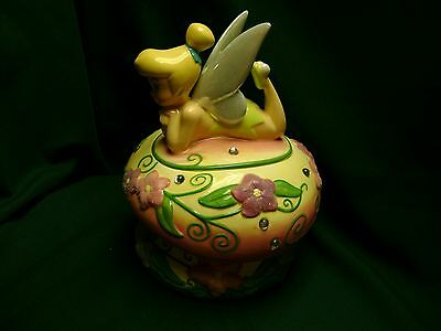 Tinker Bell Cookie Jar on Mushroom with Jewels, Flowers and Fairy Dust Disney