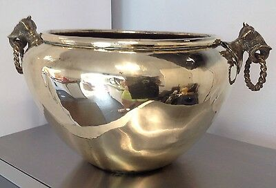 LARGE Antique / Vintage Solid BRASS Planter Pot with Elephant Head Ring Handles