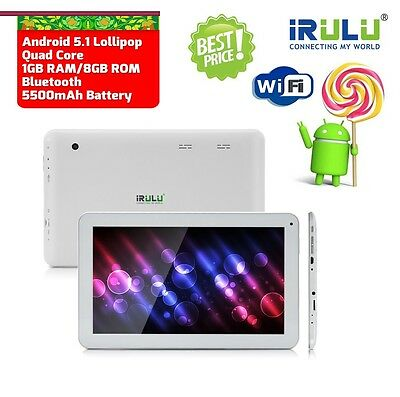 "10.1"" Android 5.1 Tablet PC 1.3GHz 8GB 1GB Wifi Bluetooth Quad Core Dual Camera"