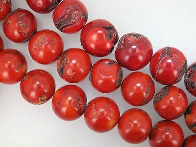 Red coral round beads 22-23mm