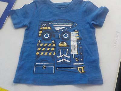 Boys Size 24 Months Jumping Beans Blue Construction Tshirt S/s New Nwt #1501