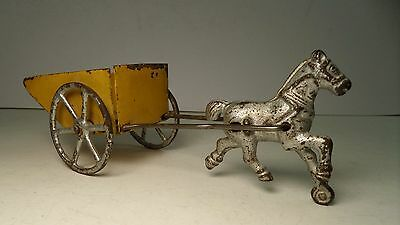 Antique Wilkins Cast Iron Horse & Tin Cart / Wagon Pull Toy Arcade Hubley