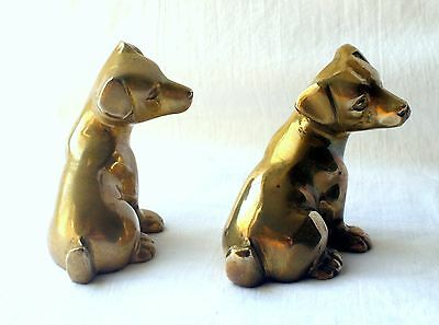Antique/vintage Pair Of Lovely Cast Brass Puppies/dogs Ornaments/paperweights