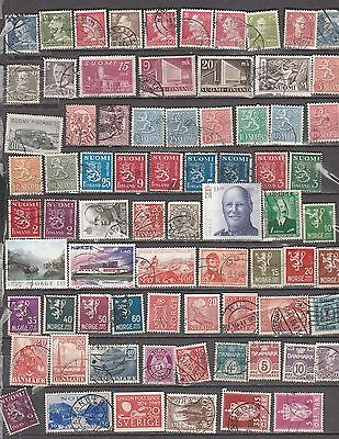 Scandavia  Mixture, 74 Stamps, All Different, Used Lot B
