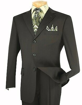 Men's Dark Olive 3 Button Classic Fit Solid Suit w/ Notch Lapel NEW VINCI