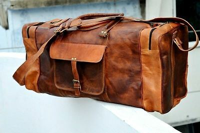 New Men's Brown Vintage Genuine Leather Cowhide Travel Luggage Duffle Gym Bags