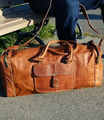 New Large Men's Leather Vintage Duffle Luggage Weekend Gym Overnight Travel Bag