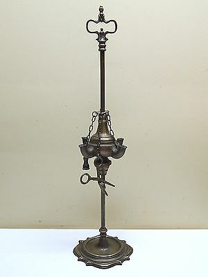 Outstanding Antique 19th C. Solid Brass 4 Burners Whale Oil Lamp / Great Details
