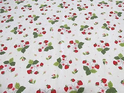 Vintage 1950's Red Strawberry & Flower Cotton Tablecloth 34 x 34