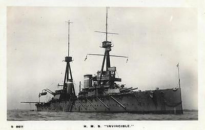 Early 1900s HMS Invincible Battleship Unused Royal Navy RP Ship Postcard S8611