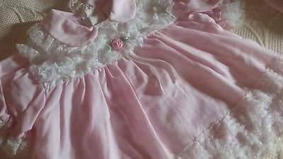 Vintage baby clothes,  Baby Girl Pink Lace Dress w diaper cover Size 6-9 Months