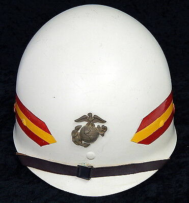 Vintage Original U.S. Marine M1 White Helmet Liner WWII Era Eagle Pin Stripes