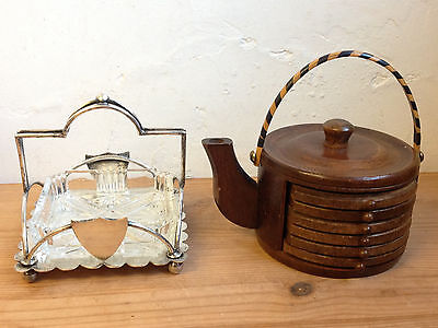 "VINTAGE WOODEN ""TEAPOT"" SET OF COASTERS and PLATED GLASS DISH"