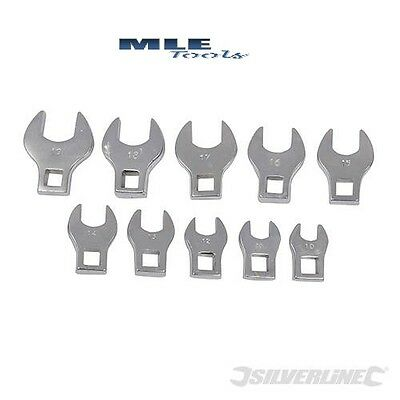 Silverline Crows Foot Spanner Set 10pce 10 - 19mm 3/8 Square Drive socket 111508