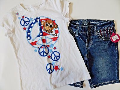 Justice SO Girls Sz 8 10 Shirt Shorts Outfit 4th of July Stars Stripes NWT