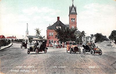 Grand Rapids, WISCONSIN ~ First St. North ~ City Library ~ Baker St. ~ Old cars!
