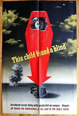 Original Abram Games WW2 Poster, This Child Found A Blind, Accidents Occur Daily
