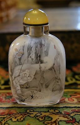 Signed Reverse Painted Chinese Snuff Bottle Cats