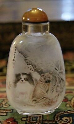 Signed Reverse Painted Chinese Snuff Bottle Dogs