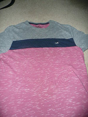 Coral/blue/grey mens t shirt size S Hollister
