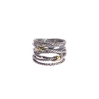 DAVID YURMAN Women's Double X Crossover Ring with Gold 9-14mm Sz 7 $450 NEW