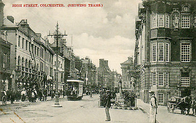 """Old Postcard """"high Street, Colchester"""" Showing Trams   Essex"""