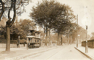 "OLD REAL PHOTO POSTCARD ""GROVE HILL"" (BIRMINGHAM 1914) with TRAM"