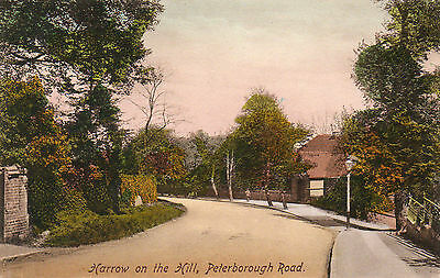 """Old Postcard """"harrow On The Hill, Peterborough Road"""" 1914?  Middlesex"""