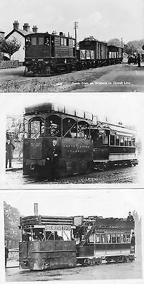 6 POSTCARD SIZE PHOTOGRAPHS of STEAM TRAMS