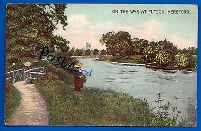 Old 1906 Postcard On The Wye At Putson Hereford Herefordshire