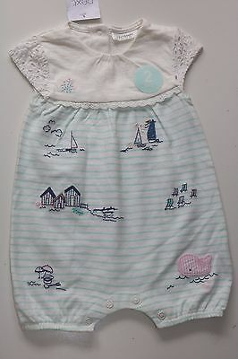 Next Vintage Seaside Beach Striped Laced Cotton Romper Outfit Girl 0-3 Month New