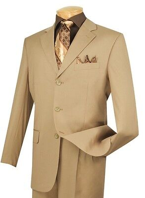 Men's Khaki 3 Button Classic Fit Solid Suit w/ Notch Lapel NEW VINCI
