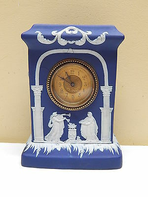 Great Rare Antique 19th C. Dark Blue Adams Tunstall Jasperware Mantle Clock