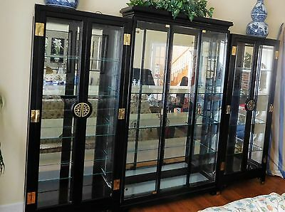 3 piece Oriental Asian Style Black Curior Display Cases with Lights & Mirrors